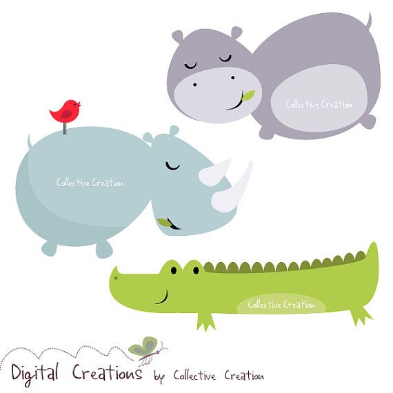 The Hippo Rhino And Crocodile Digital Clipart Set Personal And Commercial Use Digital Clip Art Set Clip Art Cute Animal Illustration