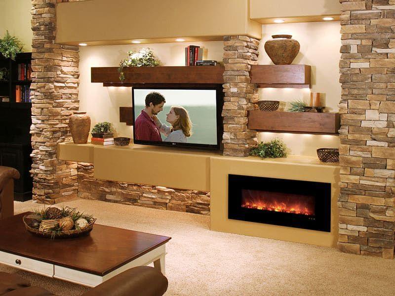 Гостиная с камином и телевизором (55 фото): как разместить в ... | 600x800