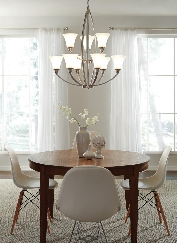 the nine light metcalf chandelier by seagull lighting meets all of your lighting needs dining room - Brushed Nickel Dining Room Light