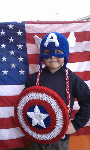 Crochet Captain America Earflap Beanie Hat   Shield - Pattern  4.49 ... 0936a6584b83
