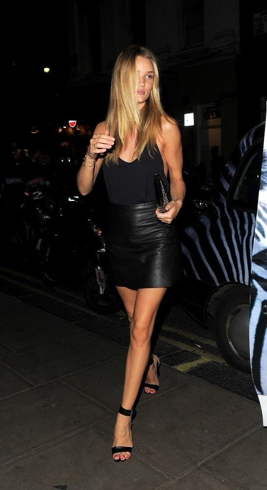 89fdd636a2 Rosie Huntington-Whiteley and Jason Statham Black Leather Skirt Outfit Going  Out, Black Leather