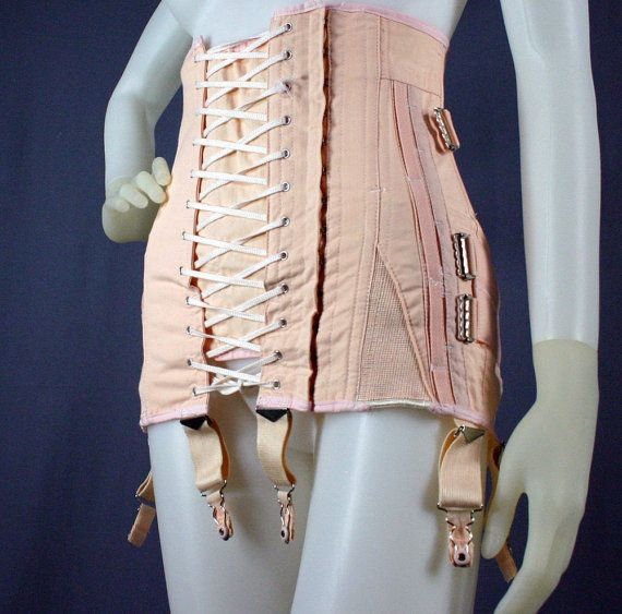 50s Open Bottom Lace Up Corset Girdle With Garters