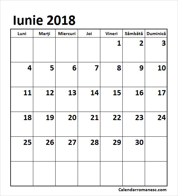 iunie 2018 calendar romania editabil