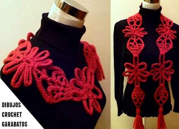 Bufanda o collar con garabatos de cadenetas | bisuteria en crochet ...