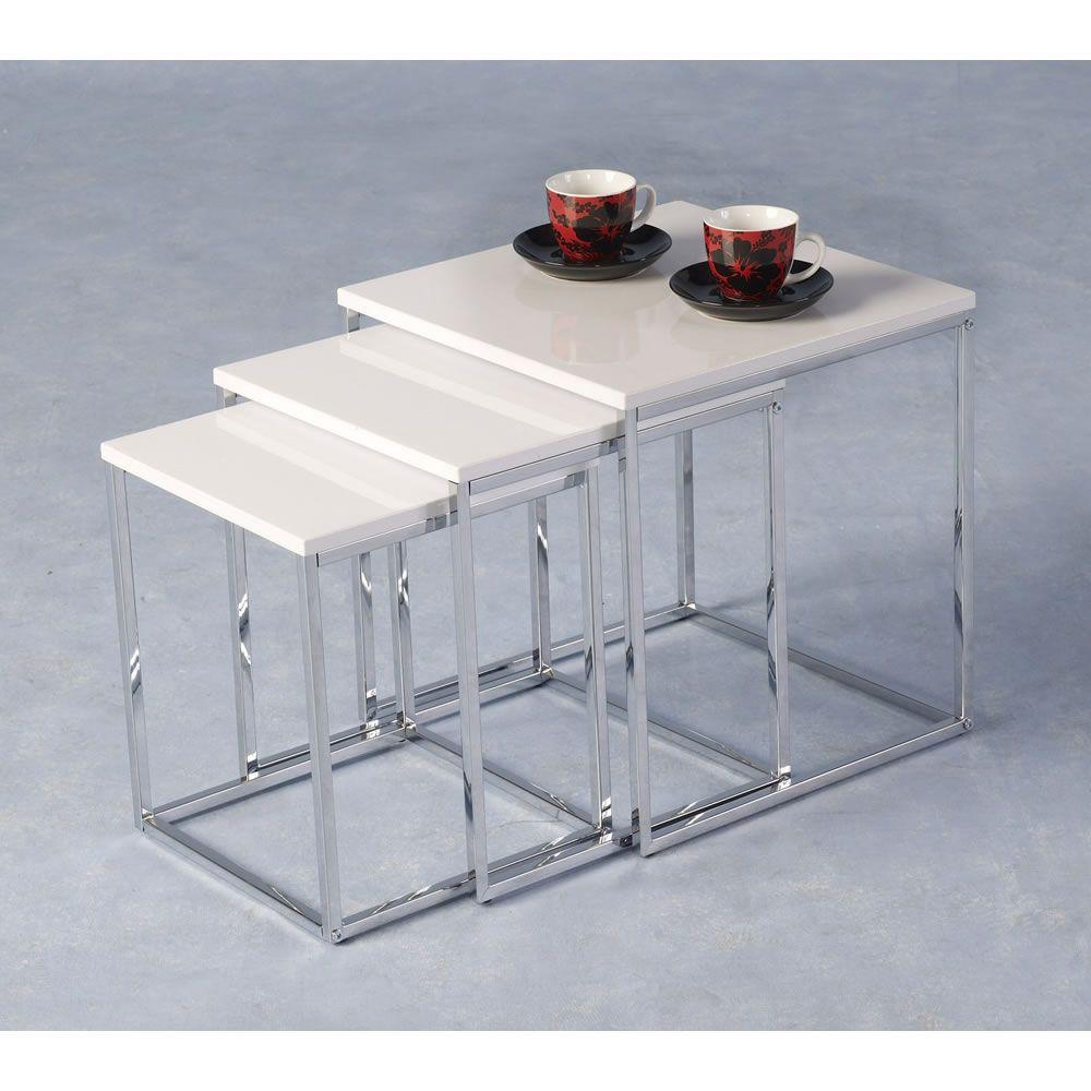 Charisma Nest Of Tables White Gloss Glass Nesting Tables White