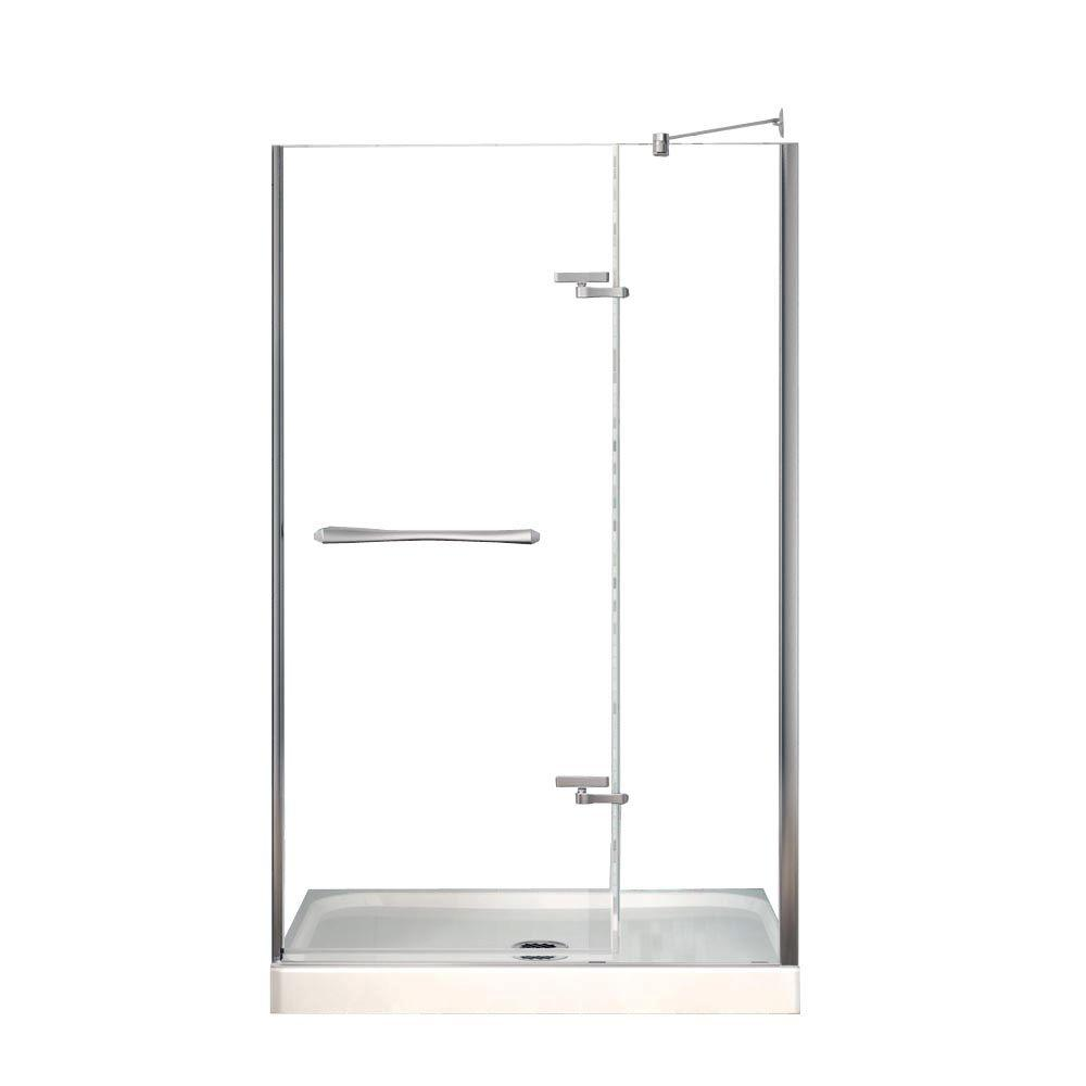 MAAX Reveal 32 in. x 48 in. x 74-1/2 in. Alcove Shower Kit in Chrome ...