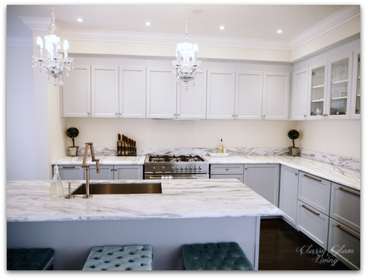 Kitchen In Progress Update | Grey Cabinets | Glass Doors On Upper Cabinets  | Minimalist Kitchen With Level Upper Cabinets | Classy Glam Living