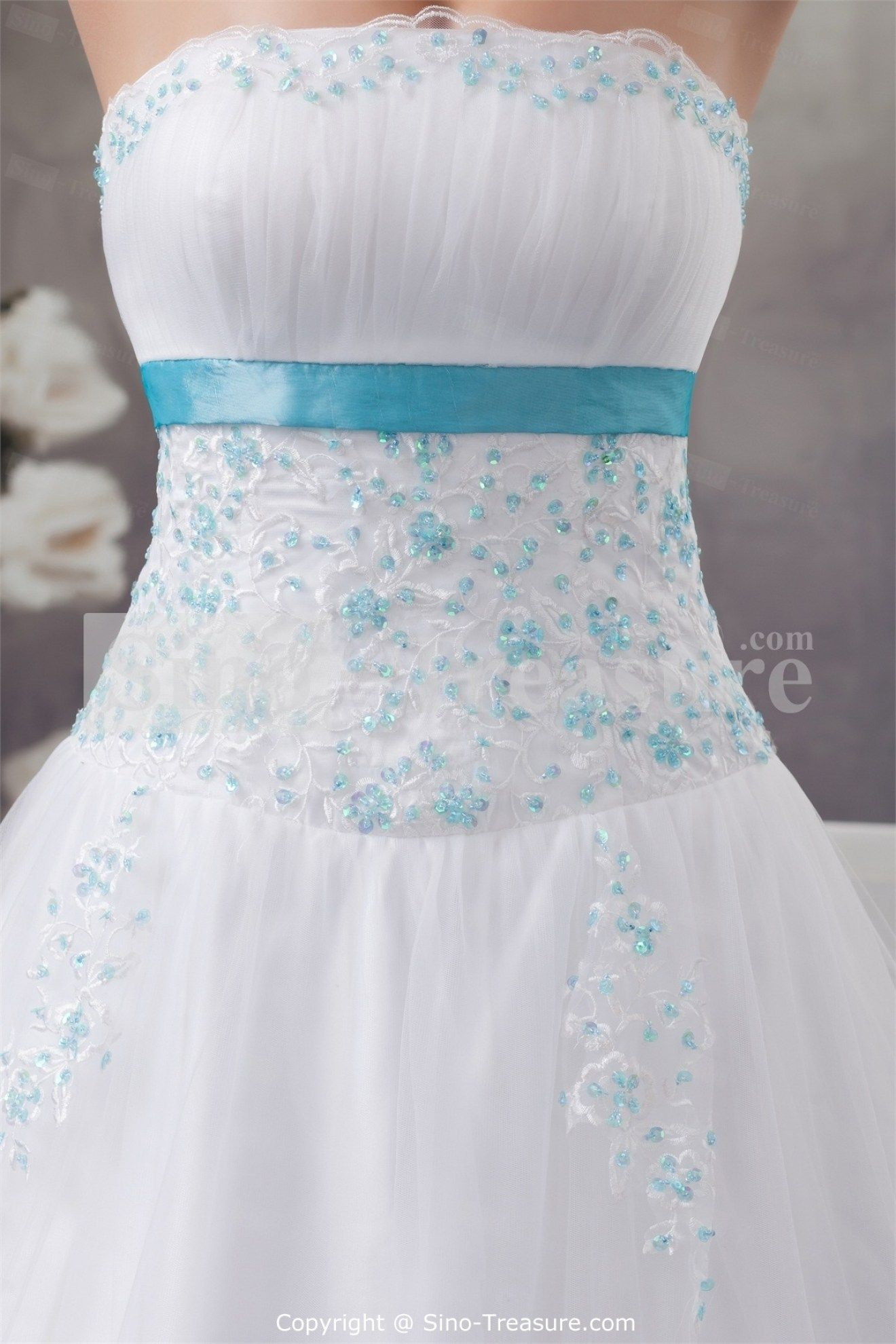 34 Beautiful Light Blue And White Wedding Dresses | White wedding ...