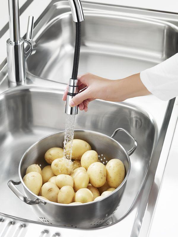 Robinet incurvé en arc, mitigeur d\u0027évier TARGA de Roca avec - mitigeur cuisine avec douchette extractible