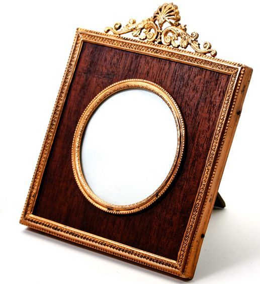 antique french dore bronze photo frame with wood mat easel stand back ormolu