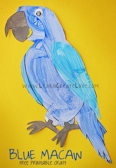 Printable Blue Macaw Craft | LearnCreateLove com | LearnCreateLove