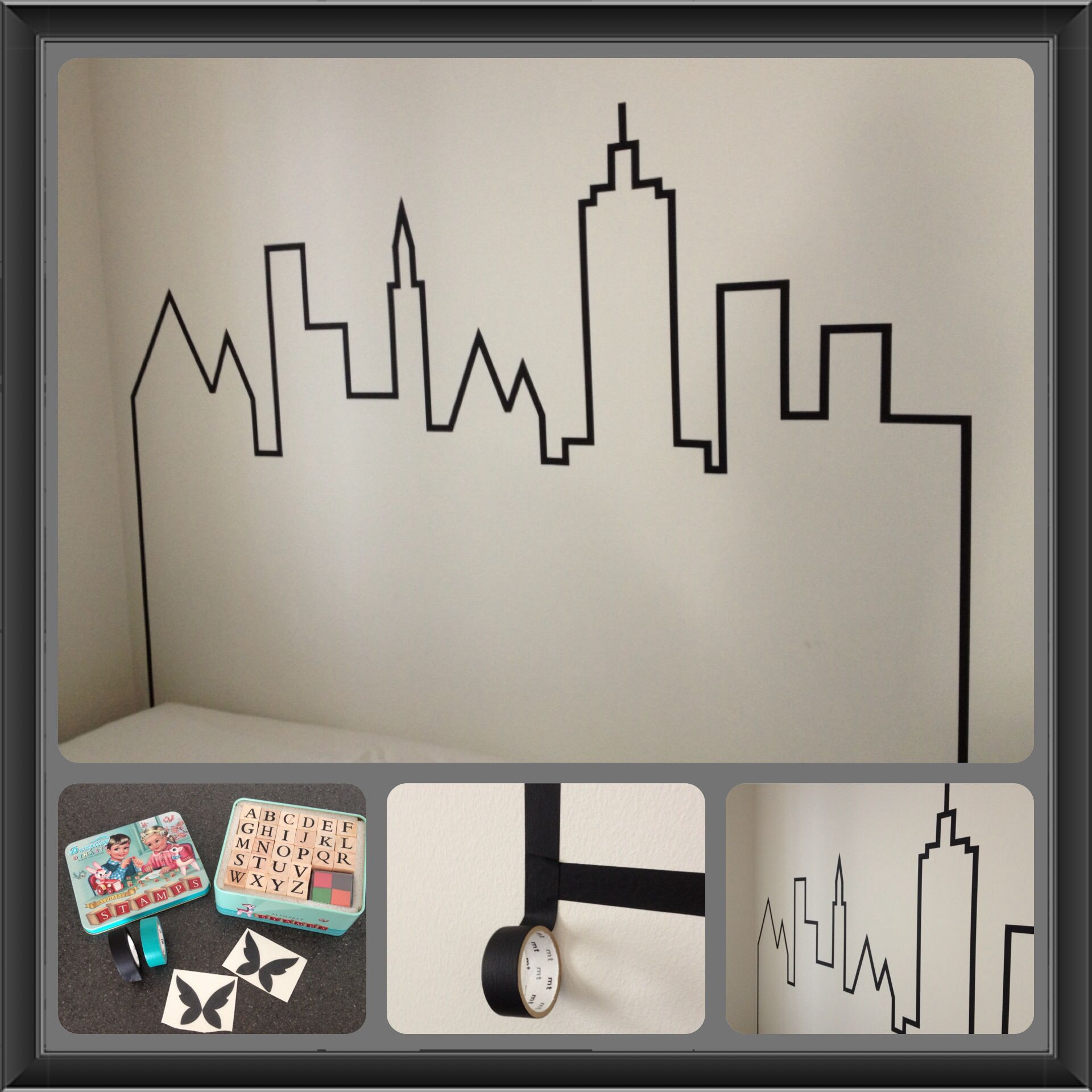 id e t te de lit en masking tape skyline ohne butter masking tapes. Black Bedroom Furniture Sets. Home Design Ideas