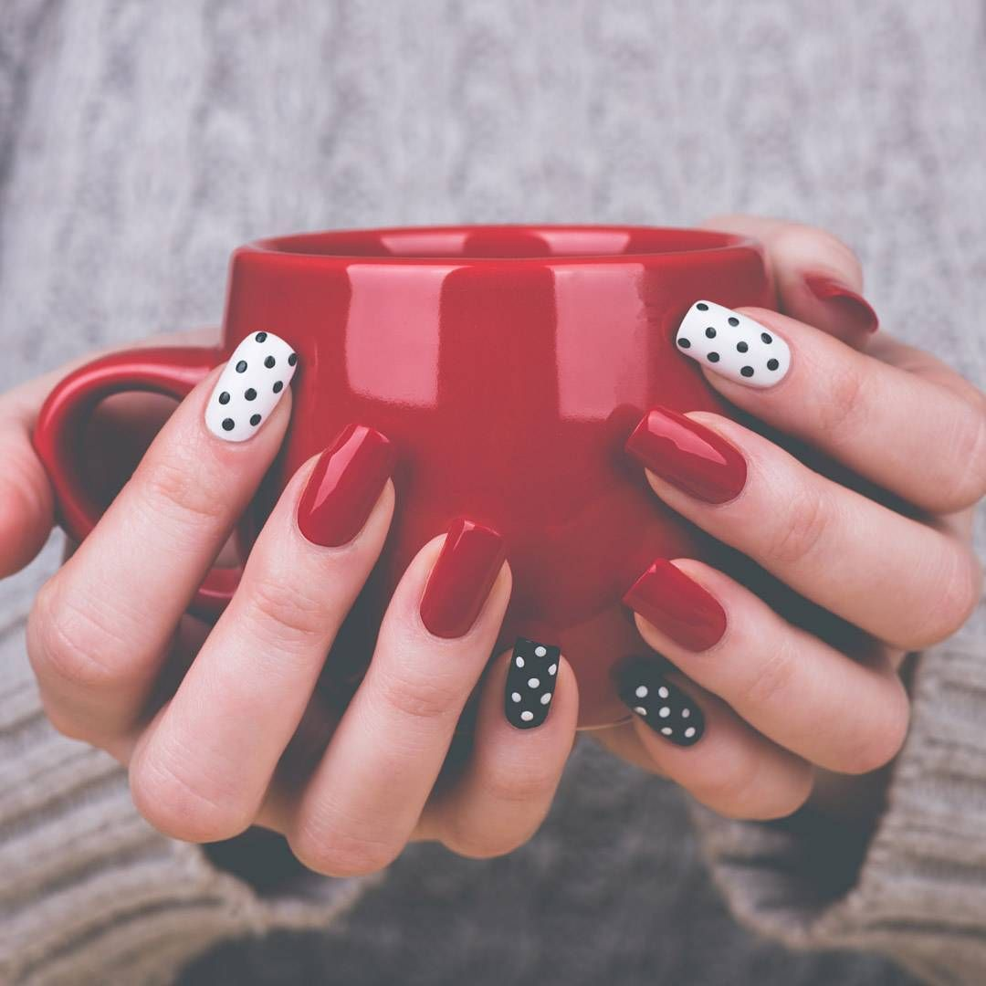 Autumn nailspiration on point polkadot nails red nails magic