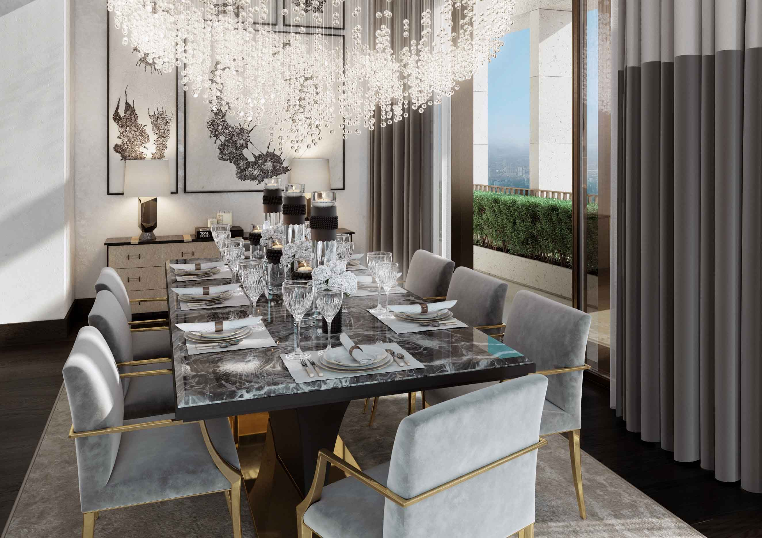 32 Stylish Dining Room Ideas To Impress Your Dinner Guests: Dining Room, St James Penthouse - Morpheus London