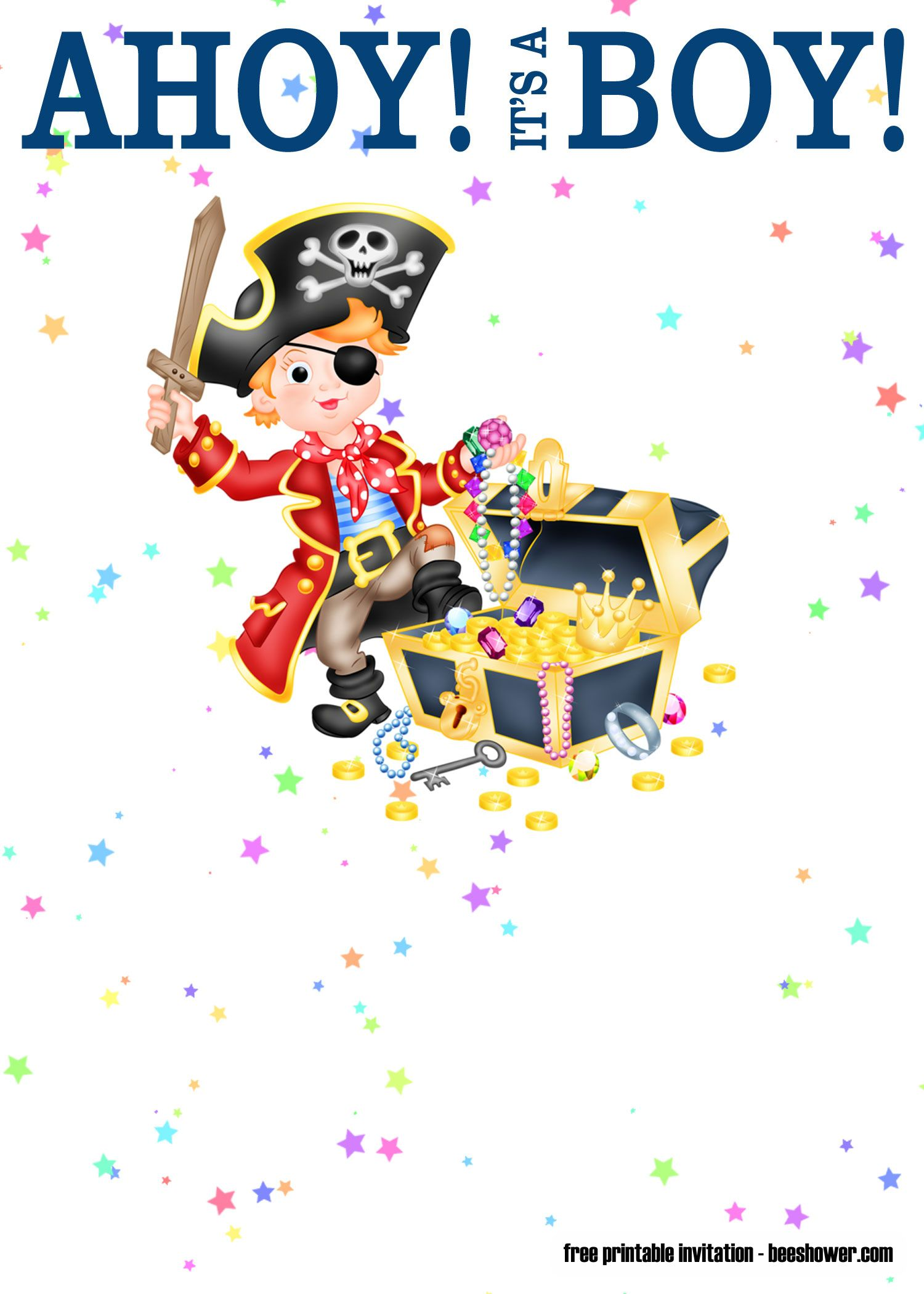FREE Ahoy It's A Boy Pirate Baby Shower Invitations | Baby ...