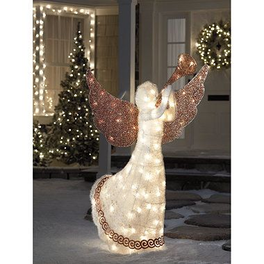 5 Foot Lighted Animated Angel - BedBathandBeyond christmas - outdoor angel christmas decorations