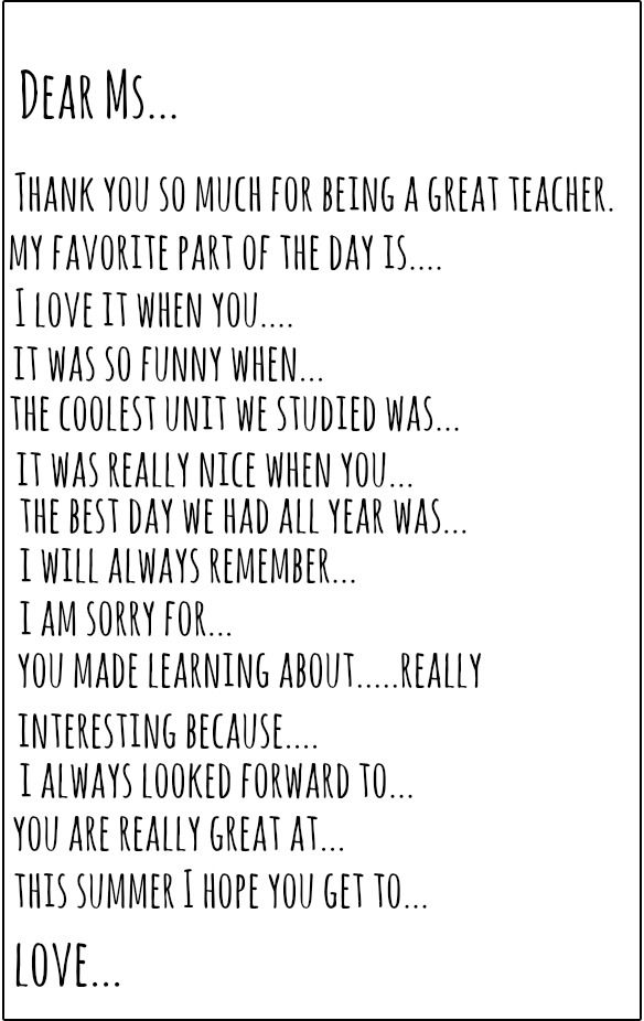 teacher thank you note prompt perfect for end of the year and great for teaching sincere gratitude