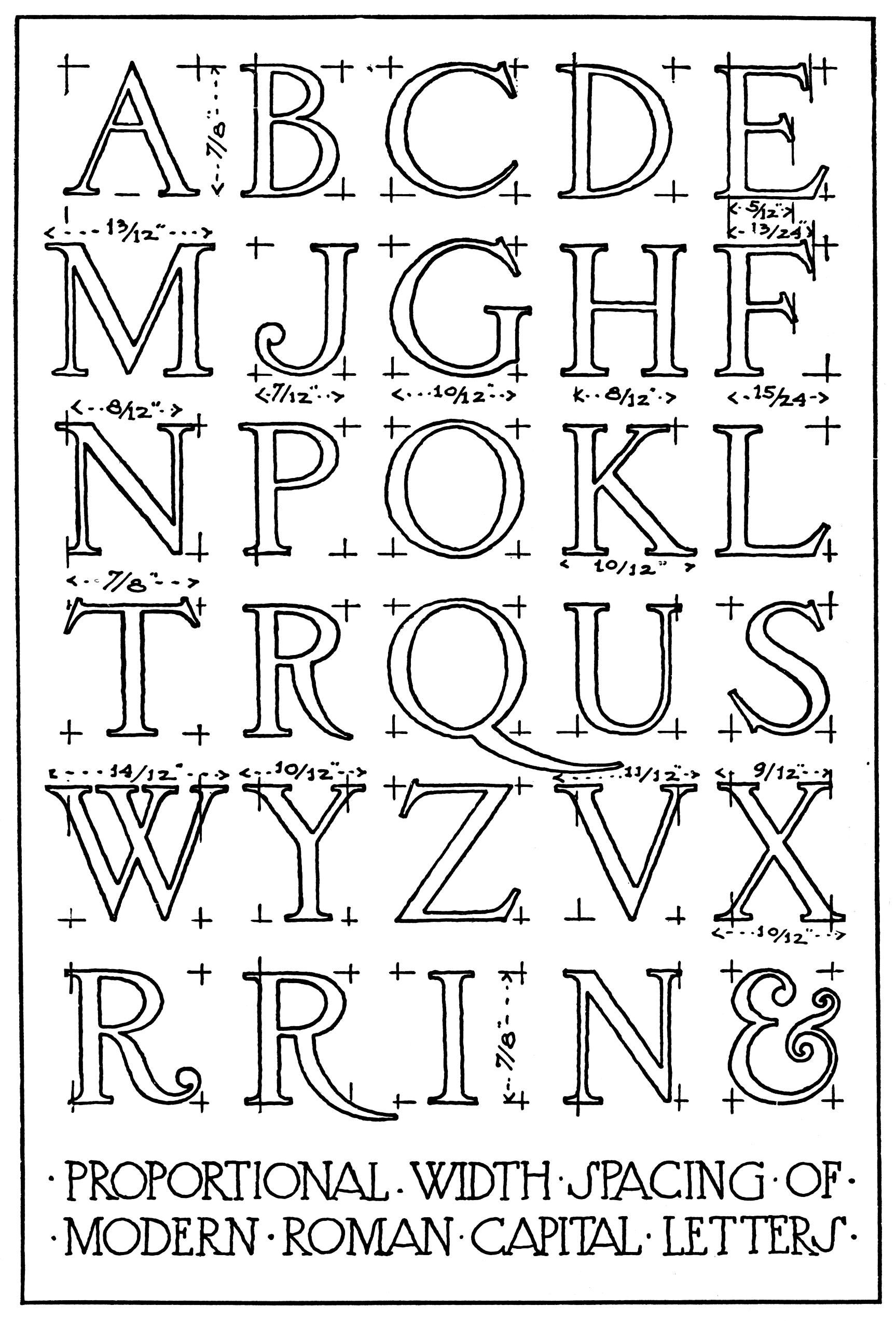 Proportional width spacing of modern roman capital letters frank chouteau brown