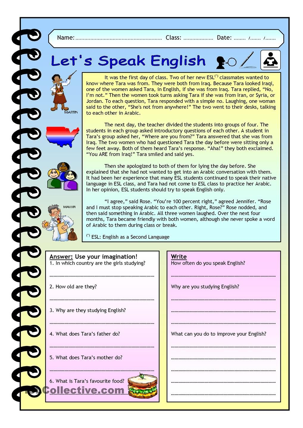 Imaginative Reading Comprehension - Let´s Speak English | english ...