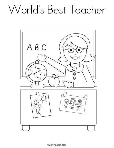 Worlds Best Teacher Coloring Page from TwistyNoodlecom  Back to