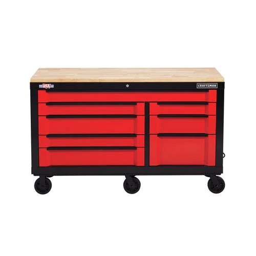 Craftsman 3000 Series 63 In W X 37 In H 8 Drawer Steel Rolling Tool Cabinet Red Lowes Com In 2020 Tool Cabinet Soft Close Drawer Slides Drawers