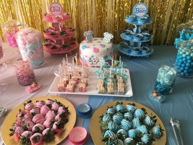 31 Sweets Table For A Gender Reveal Baby Shower Shelterness