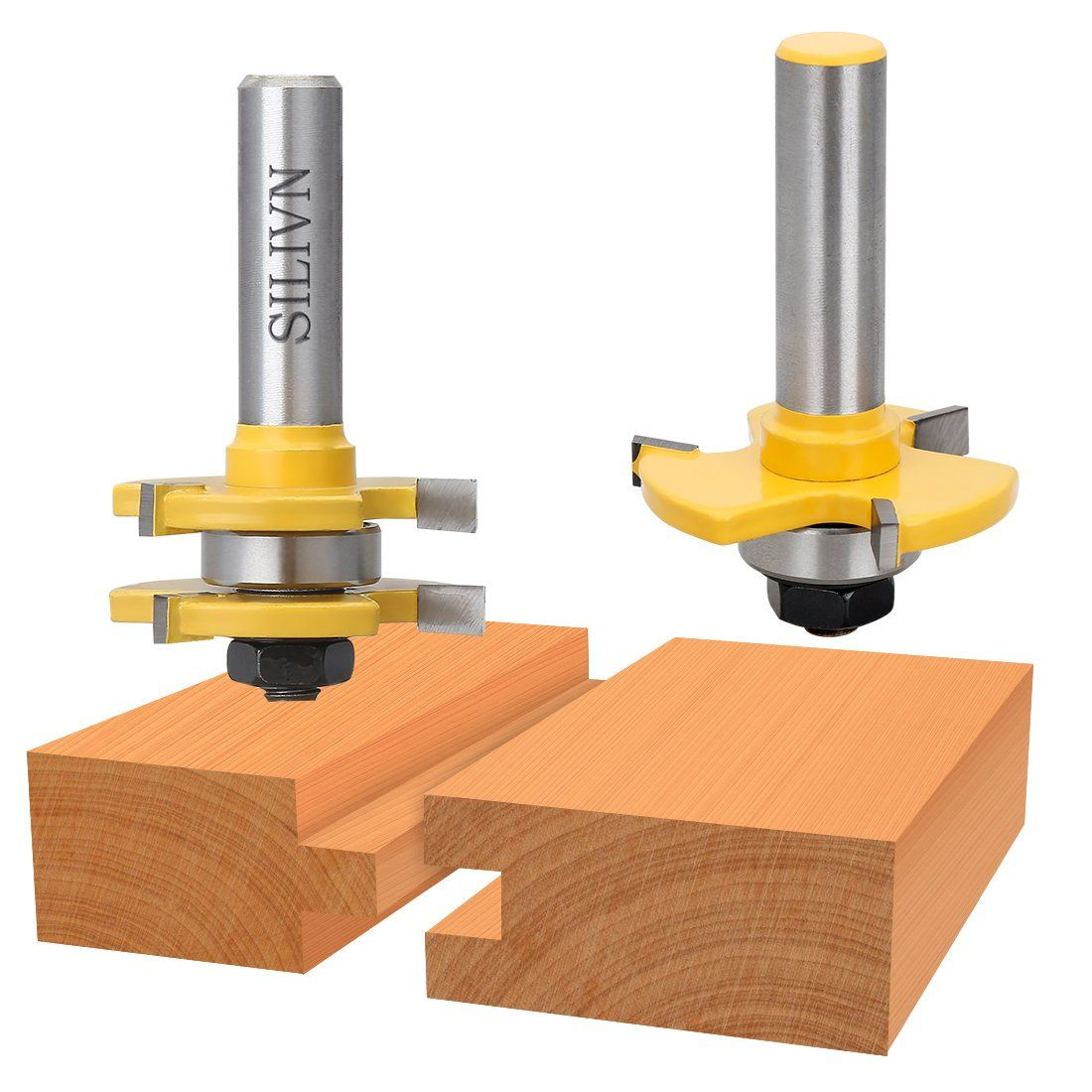 Silivn Tongue And Groove Set Router Bit Set Wood Door Flooring 3 Teeth Adjustable 1 2 Inch Shank T Shape Wood Milling Cu Woodworking Tools Router Bit Set Tools