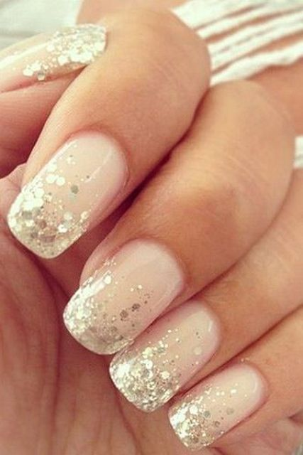 Blush Nails With Gold Sequins On The Edge Glitter Accent Nail Art Ideas For That Update Your Manicure Bestnailartideas Design