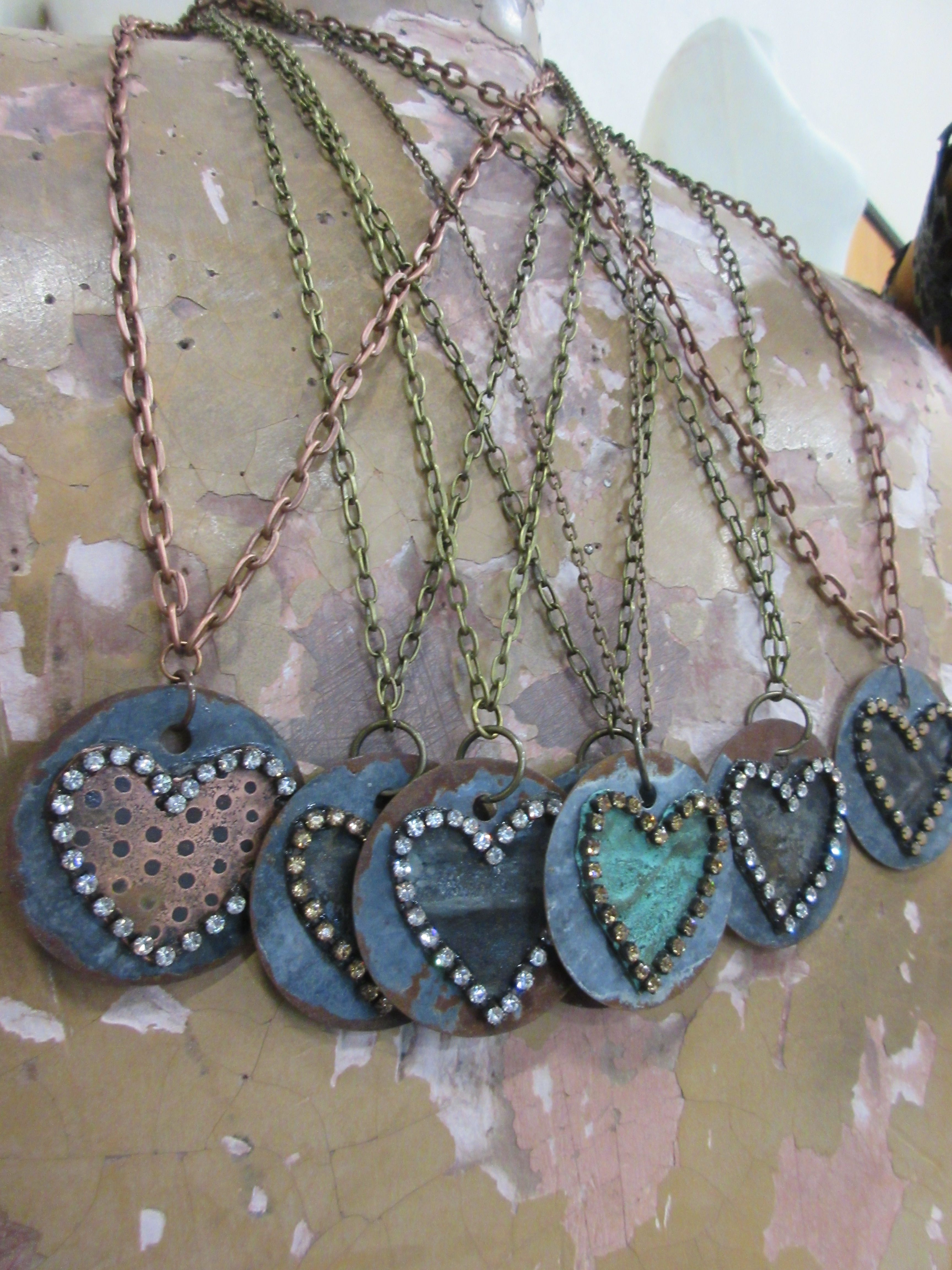 Original Tin Tile Jewelry With Bobby Boyd Designs Vintage Bliss On Galvanized Metal Discs And Etched Copper Heart Junk Jewelry Jewelry Inspiration Jewelry
