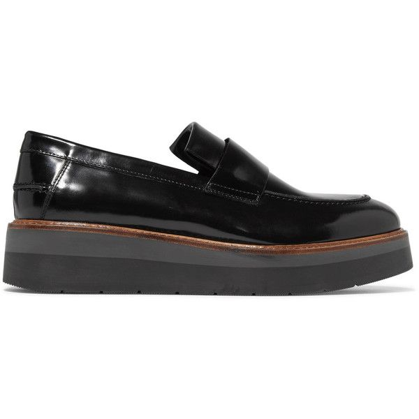 d856166fe52 Vince Dorsey glossed-leather platform loafers ( 163) ❤ liked on Polyvore  featuring shoes