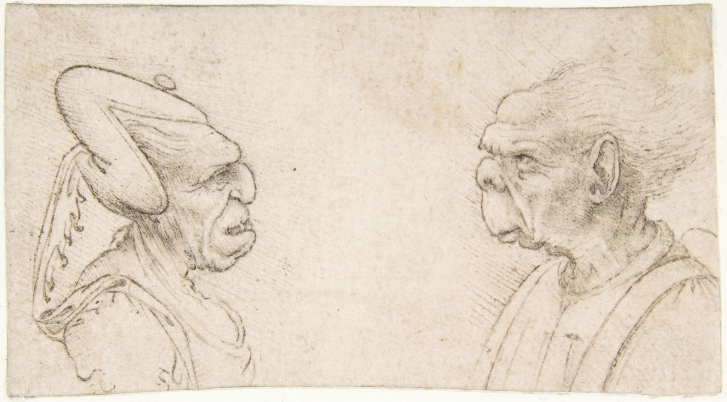 Two Grotesque Heads: Old Woman with an Elaborate Headdress and a Man with Large Ears attributed to Francesco Melzi (Italian, Milan 1491/93–ca. 1570 Vaprio d'Adda). Date: 1491/93–1570
