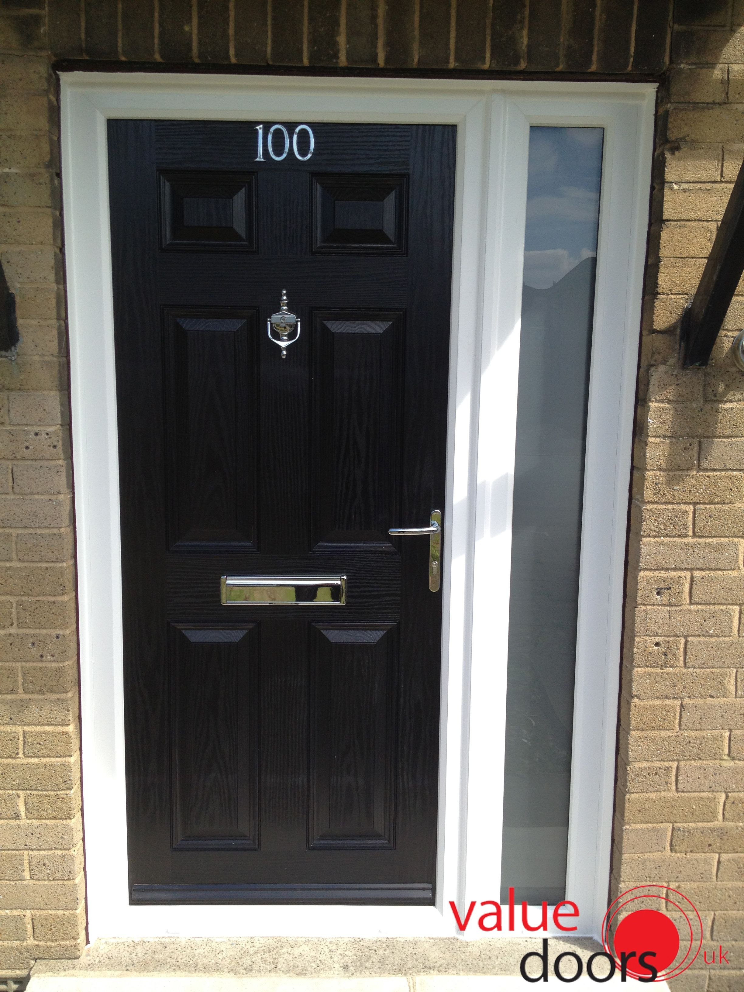 A Solid Black Composite Door With Sidelight Black Front Door