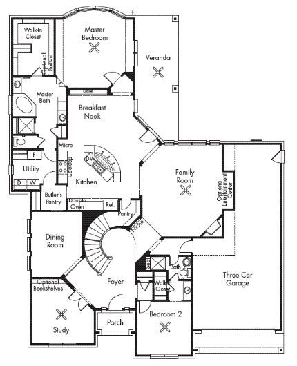 Van Gogh 3854 The Van Gogh Plan By Village Builders Features A Study Foyer With Sweeping Staircase Dining Room Dream Floors Village Builders Floor Plans