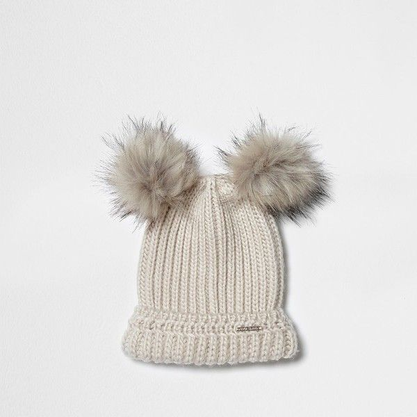 2d2528bf276 River Island Cream double bobble knit beanie hat ( 32) ❤ liked on Polyvore  featuring accessories