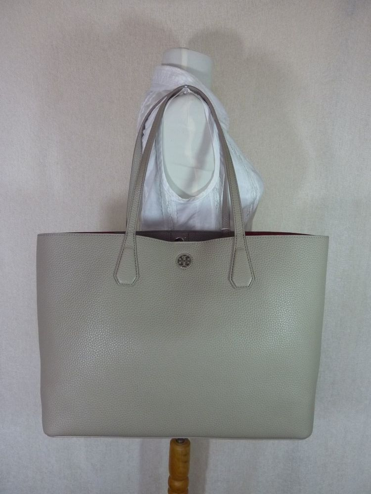 06ea4cff9606 ... good nwt tory burch french gray dark peony pebbled leather perry tote  395 toryburch 885d0 23c1b