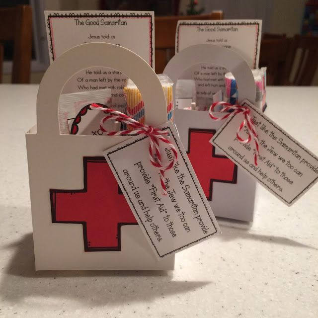 The good samaritan first aid kit primary handout for Junior church lessons and crafts