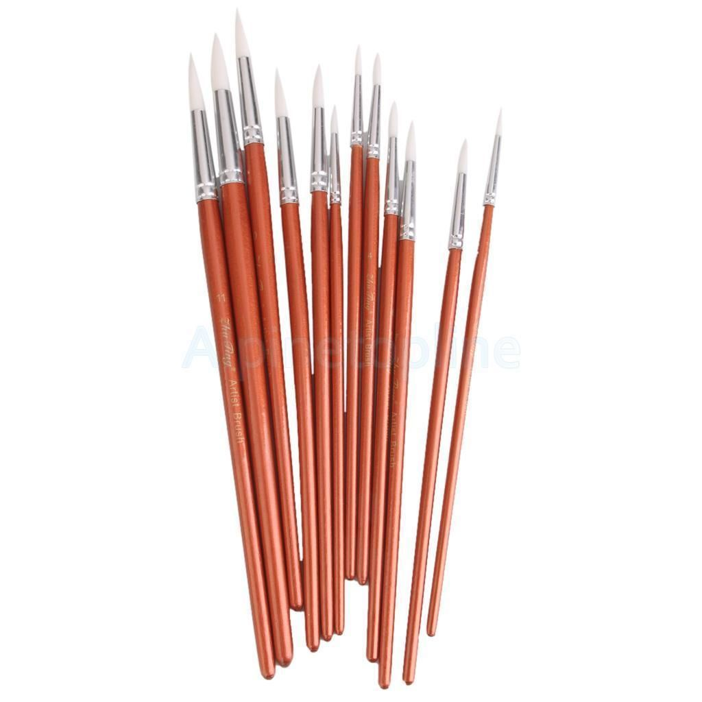 12pcs ARTIST BRUSH SET ASSORTED Pointed PAINT BRUSHES HOBBY MODELS CRAFT Red