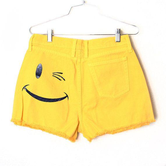 Smile Frayed Denim Shorts by BurgerAndFriends
