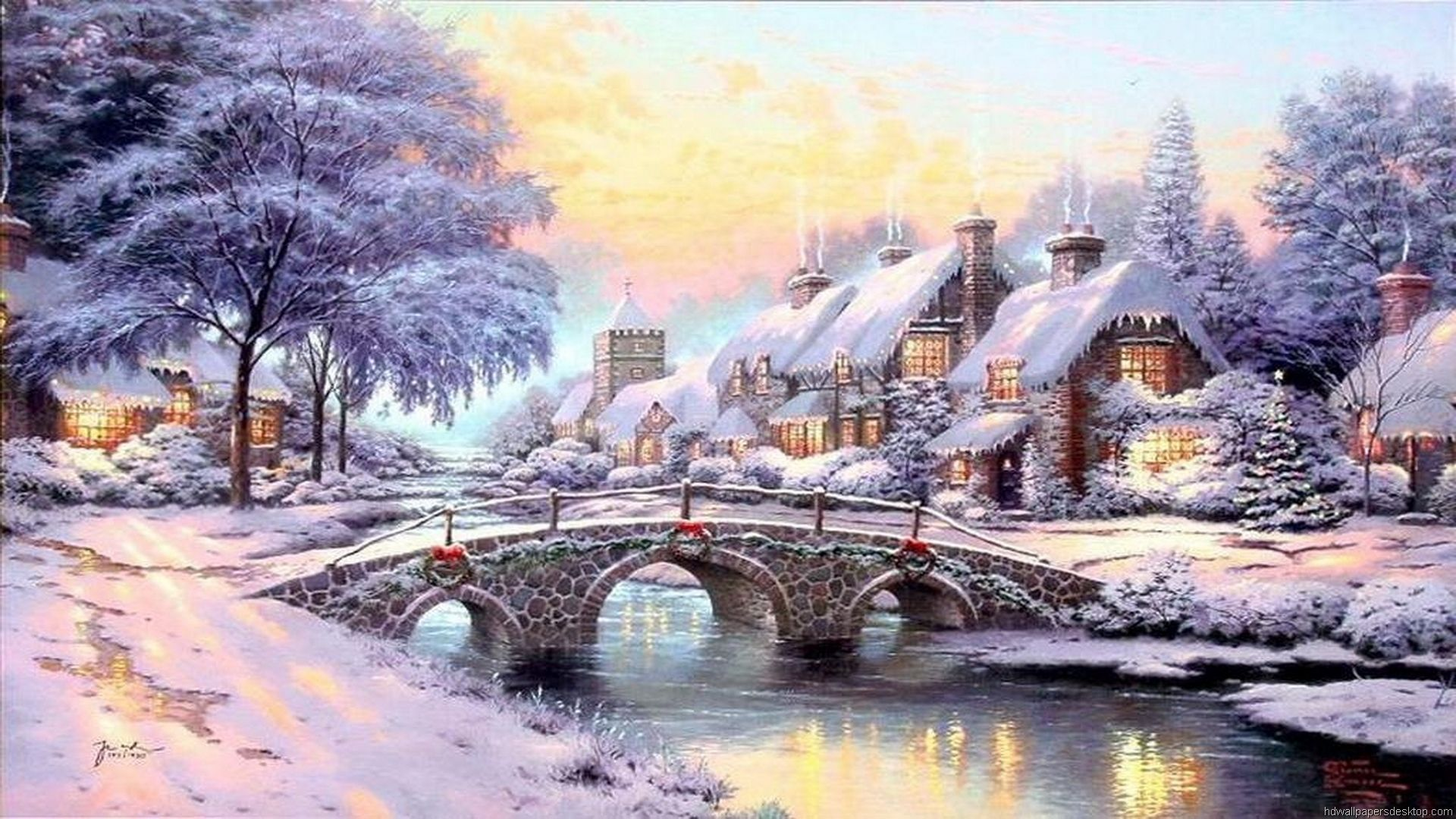 Thomas kinkade christmas village thomas kinkade - Art village wallpaper ...