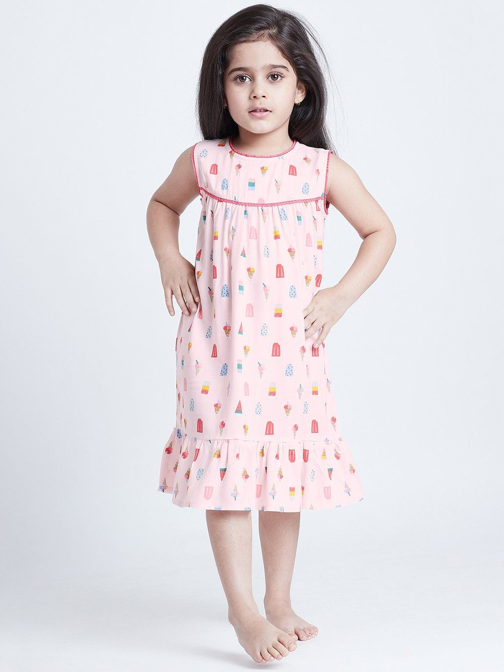 Bohobi Sweet Cream Kids Night Maxi Color: Pink Fabric: Cotton Pattern:  Quirky Fit: Relaxed Fit Length: Below Knee Lengt… in 2020   Colorful  dresses, Pink print, Night dress