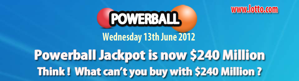 Powerball lottery draw on Wednesday 13th June 2012
