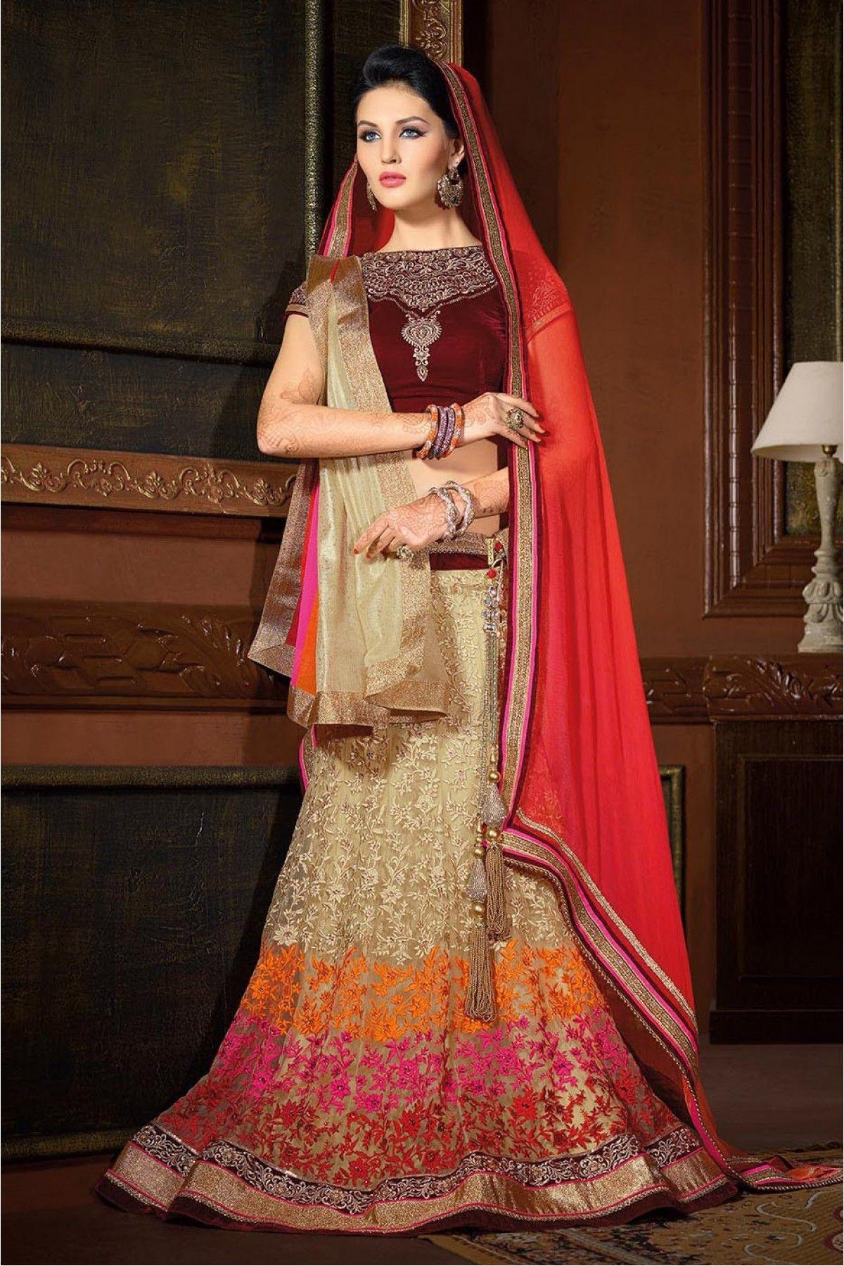 eadb85e487 Net Designer Lehenga Choli in Cream Colour | Lehengas | Silk lehenga ...