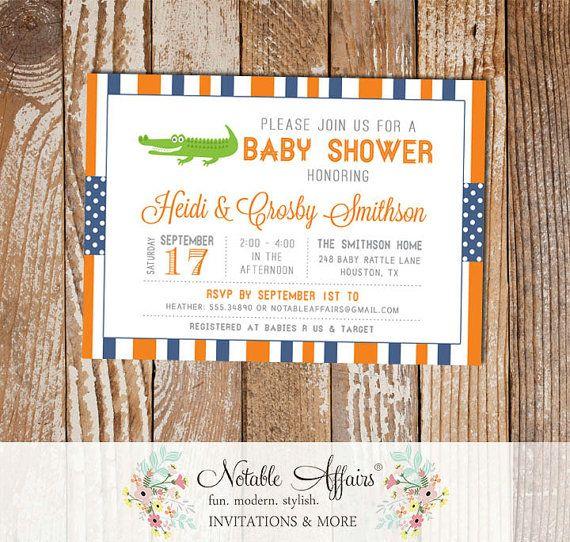 Orange And Light Navy Gator Stripes And Polka Dots Baby Shower Etsy Polka Dot Baby Shower Invitations Gender Reveal