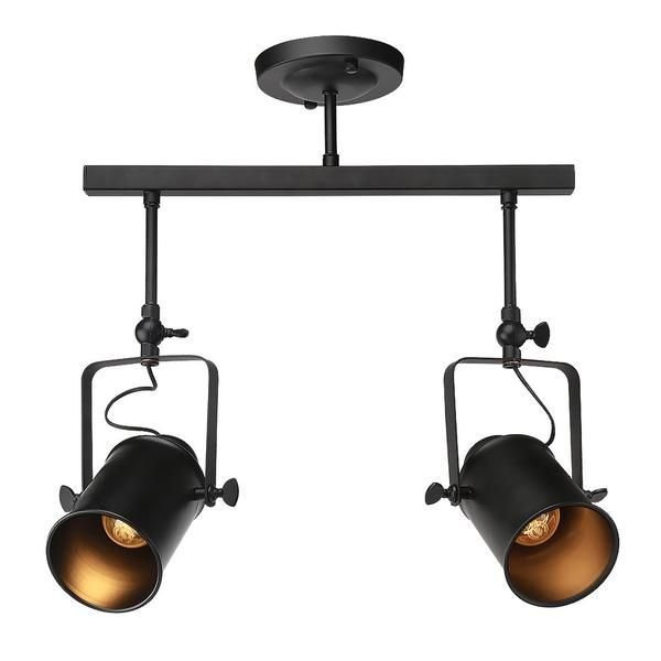 LNC Track Ceiling Light Fixture, 2-Light Industrial Lamp