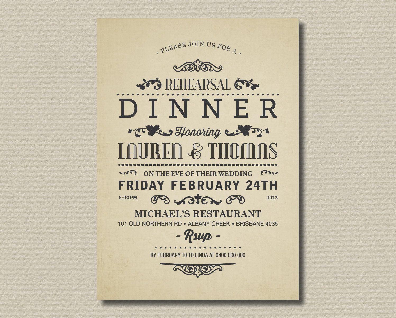 Vintage Poster Layout Via Etsy Birthday Dinner Invitation Wedding Rehearsal Invitations