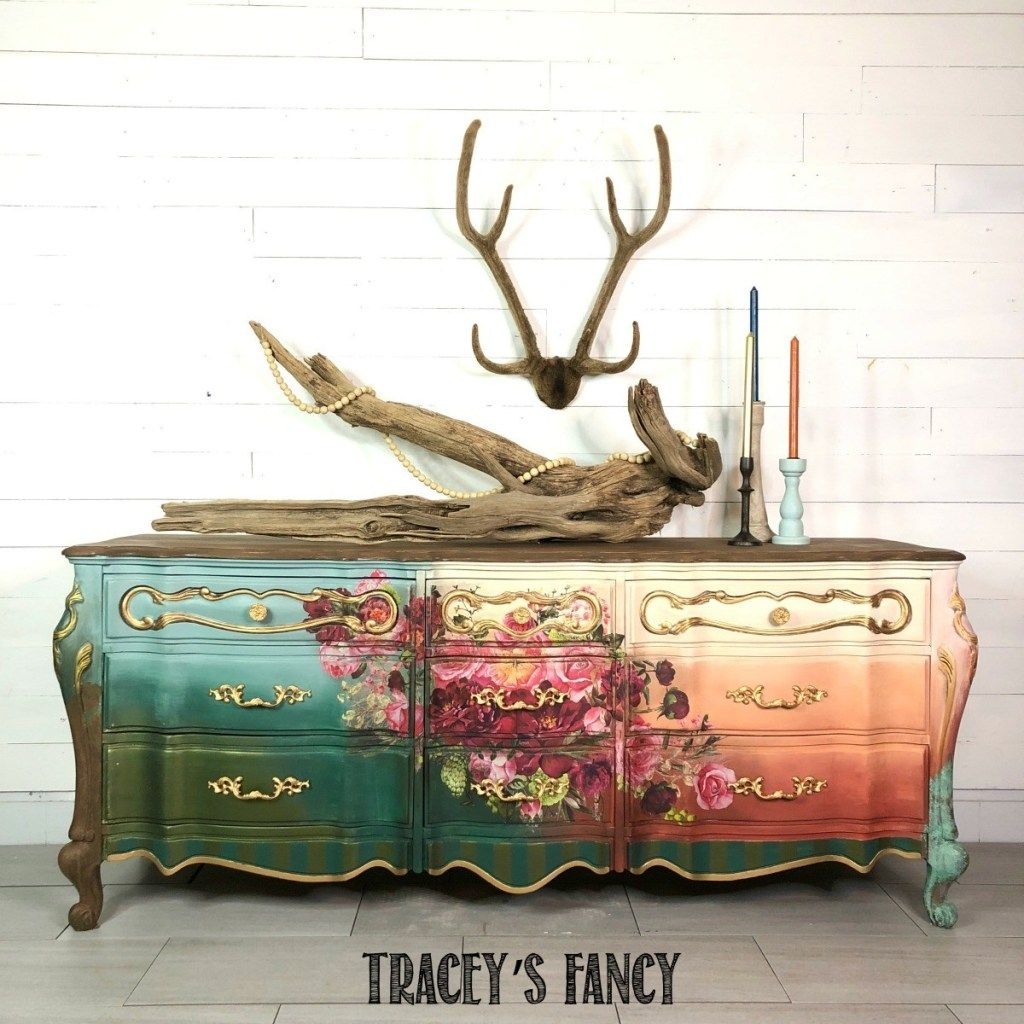 Rust and Roses: floral furniture transfer dresser
