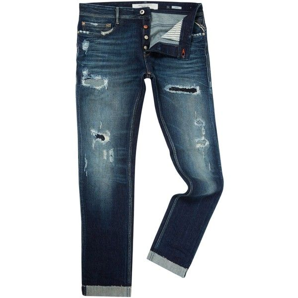 58e4f2f68f Replay Thyber Slim Fit Dar Wash Jeans ($385) ❤ liked on Polyvore featuring  men's fashion, men's clothing, men's jeans, men jeans, mens destroyed jeans,  ...
