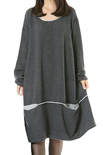 8cb40a5289 Mordenmiss Womens Daily Knitwear Spring Loose Sweater Dress M Gray     Amazon most trusted e-retailer  FallsOutfits