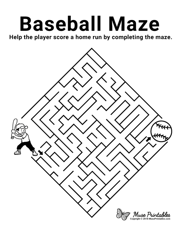 Free printable baseball maze. Download the maze and