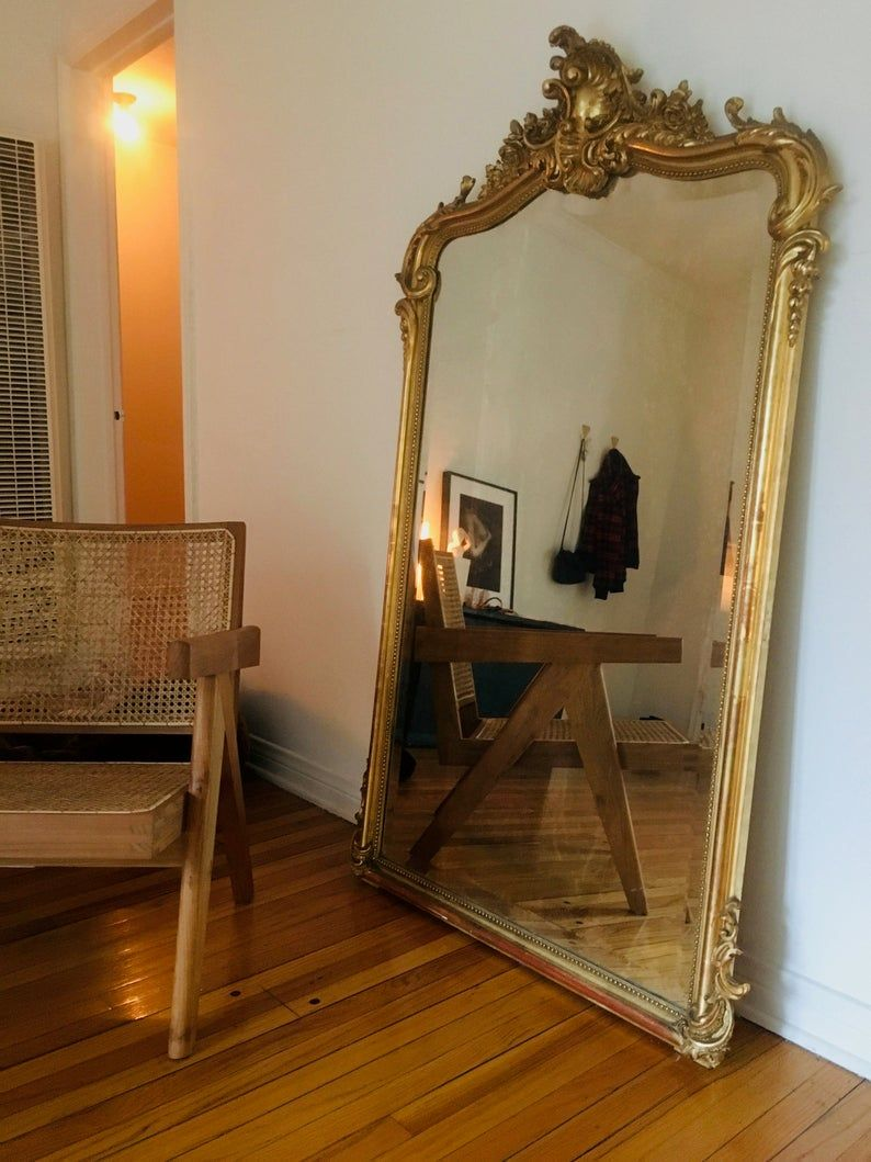Antique French Gilded Mirror In 2021 Gold Mirror Living Room Wall Mirror Decor Living Room Gilded Mirror